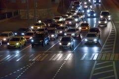 Nachtstraße in Moskau Stockbilder