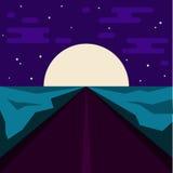 Nachtstraße und großer Mond Abstrakte Illustration für Gebrauch im Design stock abbildung