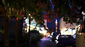 Nachtstraat in Kemer Turkije stock videobeelden
