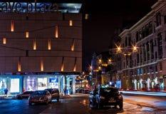 Nachtstraat in Kharkov Stock Afbeelding