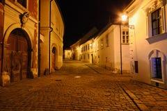 Nachtstraat van Bratislava Stock Foto