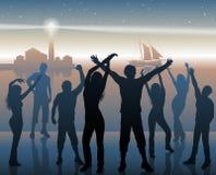Nachtstrandfesthintergrund Stockfoto