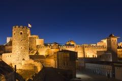 Nachtszene über dem Rabati-Schloss in Akhaltsikhe, Georgia, an der Dämmerung Lizenzfreie Stockfotos