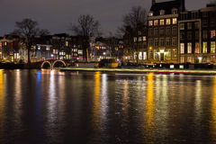 Nachtszene Amsterdam-Licht-Festival Lizenzfreie Stockfotos