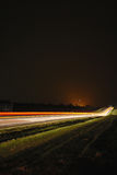 Nachtszene der Autozeilen Lizenzfreies Stockbild