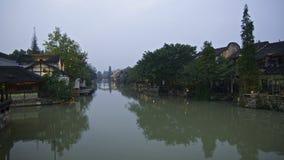 Nachtszene an der Wuzhen-Wasserstadt Stockfotos