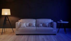 Nachtszene des Innenwohnzimmers Stockfotos