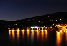 Nachtszene, Geres, Portugal stockfotos