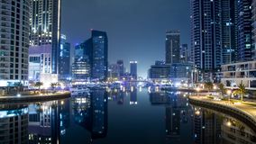 Nachtszene im Dubai, Marina Dubai stockfotos