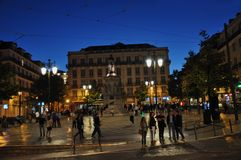 Nachtszene in Lissabon Lizenzfreies Stockbild