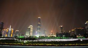 Nachtszene neuen Stadt in der Guangzhou-Zhujiang Stockfotografie