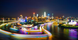 Nachtszene von Chongqing-Stadt Lizenzfreie Stockfotografie