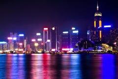 Nachtszene von Hong Kong Stockbild
