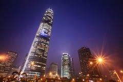 Nachtszene von Hong Kong stockfotos