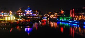 Nachtszene von Qinhuai-Fluss Lizenzfreie Stockfotografie