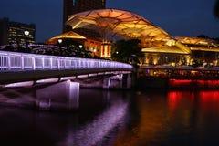 Nachtszene von Singapur-Fluss, Clark-Frage Lizenzfreies Stockfoto