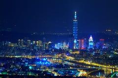 Nachtszene von Taipeh-Stadt Stockfotografie