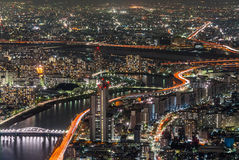 Nachtszene von TOKYO SKYTREE, Japan lizenzfreies stockbild