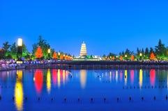 Nachtszenen der großen wilden Ganspagode Lizenzfreies Stockfoto
