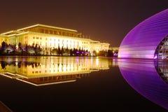 Nachtszenen des China-großartigen Nationaltheaters Stockfotos