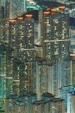 Nachtszenen-Mustergebäude Stockfotos