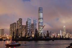 Nachtszenen von Hong Kong Stockfotos