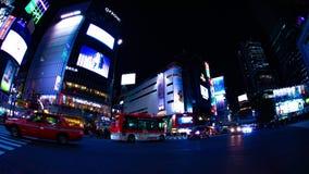 Nachttijdspanne die bij de neonstad kruisen in Shibuya wijd geschoten Tokyo vector illustratie