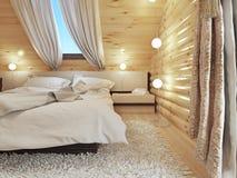 Nachttische mit Lampen und einer Stehlampe im modernen Schlafzimmer Stockfotos