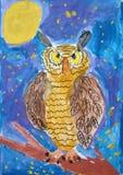 Nachtuil - gouache schilderen gemaakt door kind stock illustratie
