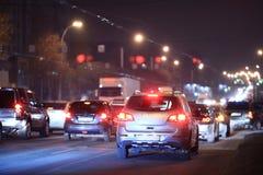 Nachtweg in de stad Royalty-vrije Stock Afbeelding