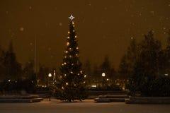 Nachtweihnachtsbaum Stockfotos