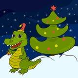 Nachtweihnachtshintergrund mit nettem Krokodil Lizenzfreies Stockbild