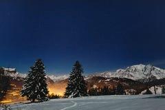 Nachtweihnachtslandschaft lizenzfreies stockfoto