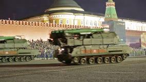 Nachtwiederholung der Parade auf Rotem Platz stock video footage