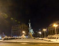 Nachtwinter Monument zu Adam Mickiewicz, Lemberg-Stadt, Ukraine Lizenzfreies Stockbild