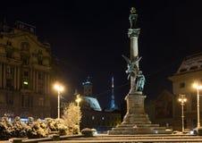 Nachtwinter Monument zu Adam Mickiewicz, Lemberg-Stadt, Ukraine Stockbilder