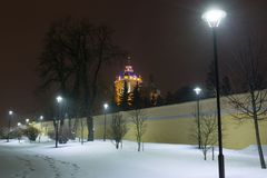 Nachtwinter St. George Cathedral herein, Ukraine Stockfoto