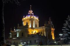 Nachtwinter St. George Cathedral in Lemberg, Ukraine Stockfoto
