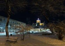 Nachtwinter St. George Cathedral in Lemberg, Ukraine Lizenzfreies Stockfoto