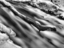 Nachtwinteransicht zu gefrorener Kaskade des Wasserfalls, der eisigen Zweige und der eisigen Flusssteine in gefrorenem Schaum des  Stockfotos