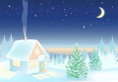 Nachtwinterlandschaft mit Haus und Wald Stockbild