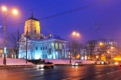 Nachtwinterpanorama von Minsk, Belarus lizenzfreies stockbild