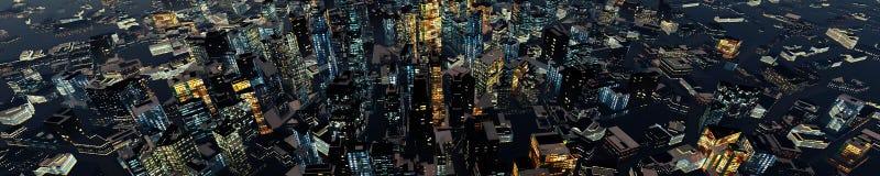 Nachtwolkenkrabbers Stock Afbeelding