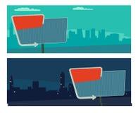 Nachtzeichen mit einem Pfeil Anschlagtafel im Retrostil mit Lichtern Vector flache Illustration auf Stadtnacht- und -morgenhinter Lizenzfreies Stockbild