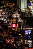 Nachtzeit auf dem Las Vegas-Streifen stockfotografie