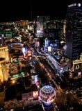 Nachtzeit auf dem Las Vegas-Streifen lizenzfreie stockbilder