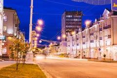 Nachtzeit auf Lenin-Allee Gomel, Weißrussland Stockfoto