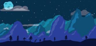 Nachtzeit in den Bergen stockbilder