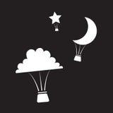 Nachtzeit-Heißluft-Ballone Stockbild