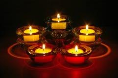Nachtzeit-Kerzen Stockfoto